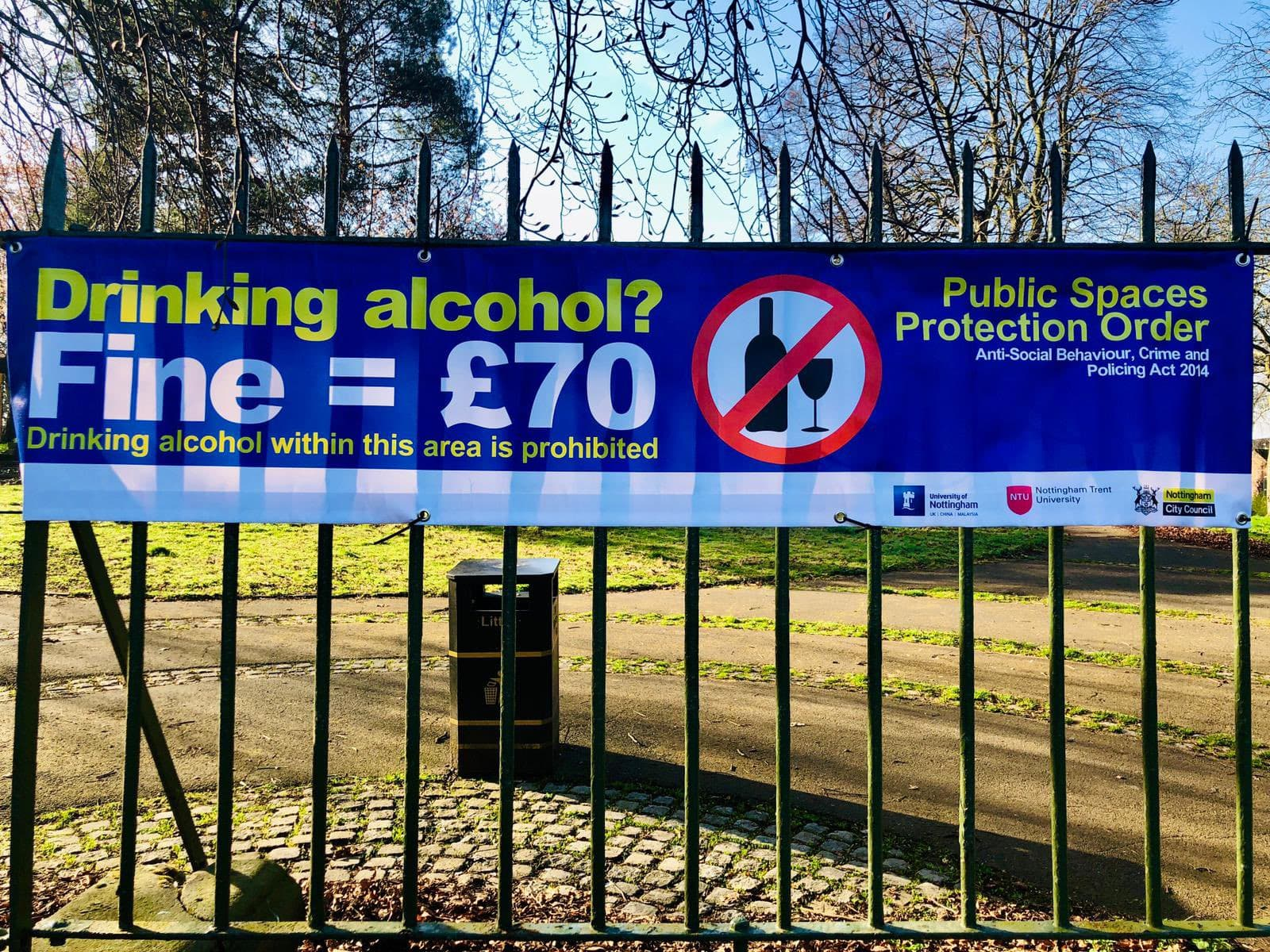 why police banned alcohol in nottingham